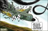 Cartoon of a plummeting military aircraft named 'Ministerial Code of Conduct' which is trailing black smoke. John Howard is on board and the pilot tells the co-pilot: 'Don't tell the prime minister. He thinks it's the smokescreen counter-measure'.