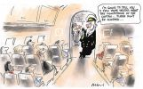 Cartoon showing an aeroplane interior with Peter Costello dressed in co-pilot's uniform leaning casually against cockpit doorway asking passengers not to be alarmed and saying 'I'm going to tell you a few home truths about the competence of the captain'. John Howard as captain can be seen at the controls in the background.