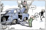 Cartoon showing an FJ Holden style car with a 'Liberals' numberplate, which has crashed into a pole which bears a 'Kevin 07' poster. John Howard, wearing a green and gold tracksuit, stands outside the car holding the steering wheel, saying 'Peter', as Peter Costello runs away. A small creature at the bottom of the cartoon says 'How ungrateful'