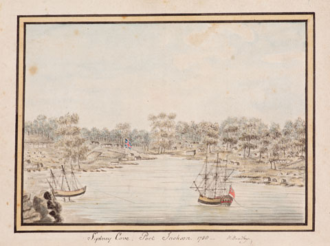 Colour drawing showing two sailing ships in a harbour, with numerous gum trees and the British flag visible on the shore.