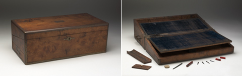 Two images of Colonel Light's writing box. The image on the left shows the closed wooden writing box. The image on the right shows the box with the lid open and writing implements arranged in front.