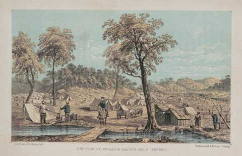 Colour drawing showing tents, huts and miners beside a small waterway. A man on a horse crosses a small bridge in the centre of the drawing.