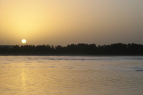 The sun setting over the mouth of the Hastings River, Port Macquarie