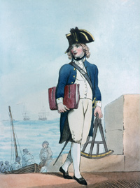 A man in colonial period naval uniform carries a large navigation device in his left hand and a bag under his right arm. In the background is a large body of water, upon which is a vessel.