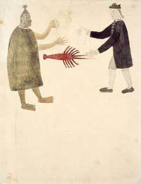 Watercolour, painted by Tupia, a Tahitian man who joined the Endeavour voyage, that shows a Maori man offering a crayfish to Joseph Banks