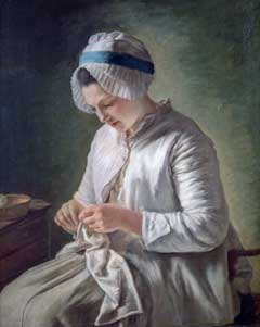 Painting by François Duparc that shows a young woman at her needlework, about 1770