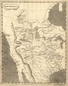 Map of Louisiana from 1804 that shows some of the major rivers in North America, including the Mississippi