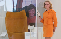 Australian Expo 67 hostess Kate 'Kay' Maisey wearing her original uniform at the National Museum exhibition launch.