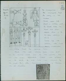 A page from Mountford's field book with notes on the crucifixion, a painting created by Mawalan Marika for Mountford in Yirrkala, 21 September 1948. Courtesy of the State Library of South Australia, PRG1218/17/20/277.