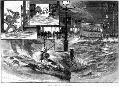 Compile of black and white sketches above printed text 'THE RECENT FLOODS'. The sketch bottom left shows a man clinging to a post in floodwater with a black and white dog in the water beside him. The top left sketch shows three figures mopping up water at a shop doorway. In a smaller inset at the centre top, two people inside a building lean down to mop up water while a person holding an umbrella walks along a flooded street outside. The main image, at the right, shows a horse and coach negotiating a flooded street.