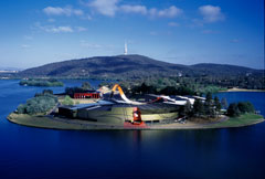 Aerial view of The National Museum of Australia on Acton Peninsula, Canberra