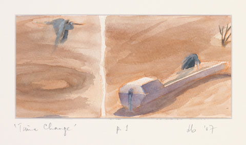 A colour painting of a grey bird in flight, then drinking from a water trough. 'Time Change, p.1, db '07' is written underneath the painting.