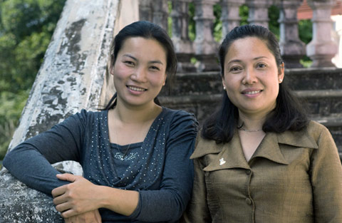 Mrs Doungchith Thammavong, Collections Manager with Mrs Vanpheng Keophanna, Director of the Luang Prabang National Museum.