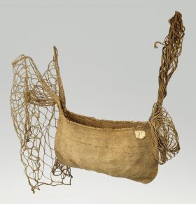 Bag for sling stones made of 1mm thick, twisted plant fibres with mesh or net like carrier straps tied to the ends of the bag.