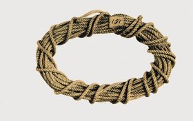 Cord, beige-brown in colour made of plant materials and twisted. It is rolled up to form an oval ring.
