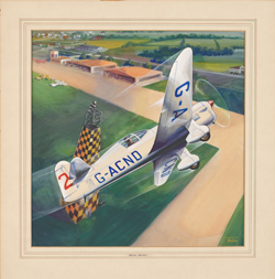 A painting showing a monoplane in flight above an airfield. The plane, registered 'GA-CND' is rounding a marker.