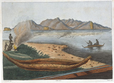 A large Tasmanian canoe seen on the eastern shore of Schouten Island, colour engraving by Charles-Alexandre Lesueur, artist on the Baudin Expedition (1800–1804).