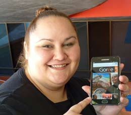 Host Kristy Greaves showing the Goree magazine on the Museum website