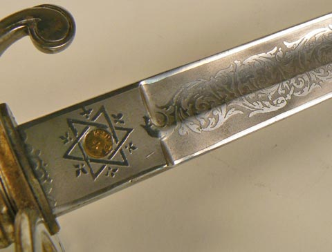 Close up of etched decoration.