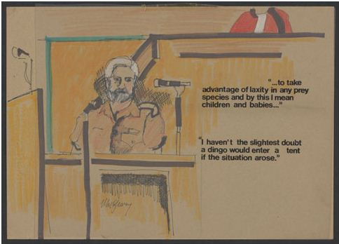 Sketch showing a bearded man in a courtroom, sitting in front of a microphone. The man wears a brown-coloured uniform. A judge, wearing red robes with black trim, is partially visible, sitting higher in the rear of the sketch. The words '...to take advantage of laxity in any prey species and by this I mean children and babies...' and 'I haven't the slightest doubt a dingo would enter a tent if the situation arose' have been applied over the sketch, to the right of the man who is testifying.