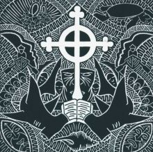 A linocut imprinted with black pigment on cream coloured paper. The artwork features a white cross in the centre with an open book below and hammerhead sharks on either side.