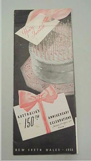 Black, white and pink leaflet printed for Australia's sesquicentenary issued by Australia's 150th Anniversary Celebrations Council. Noble Numismatics Collection, National Museum of Australia.