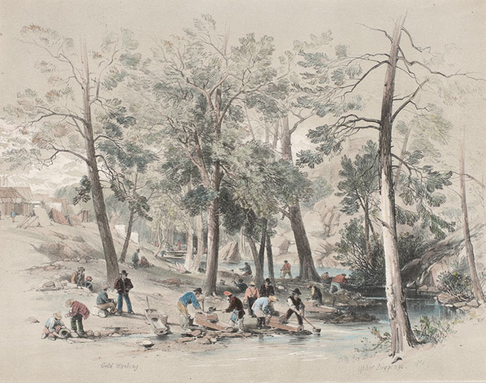 A painting of a group of men working by a river, with tents in the background.