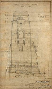An architectural plan for one the Sydney Harbour Bridges pylons.
