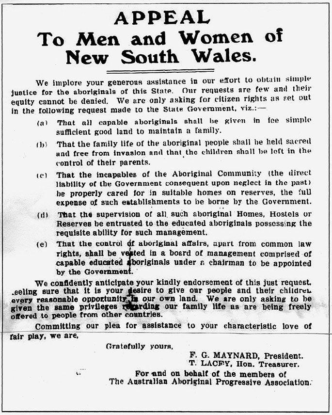 Reproduction of the AAPA's manifesto entitled 'Appeal to the men and women of New South Wales.