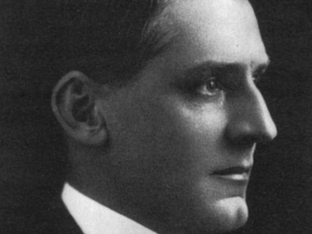 Close portrait of Edwin Flack in black and white