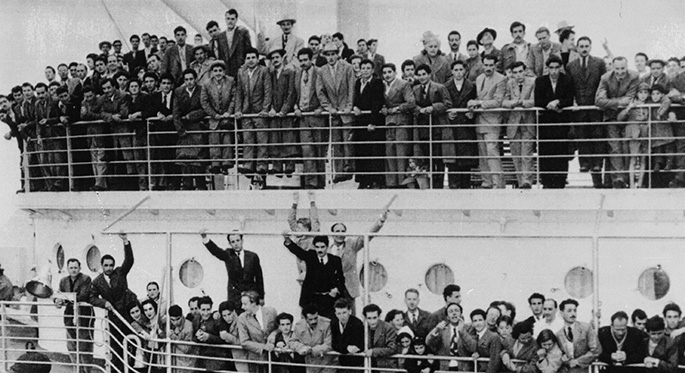 People on a large ship.