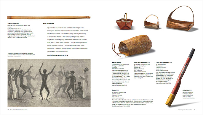 A sample page from the Encounters book about objects in the exhibition from Port Essington, Queensland.