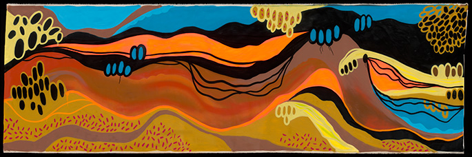 Brightly coloured artwork showing mountains, trees and waterway.