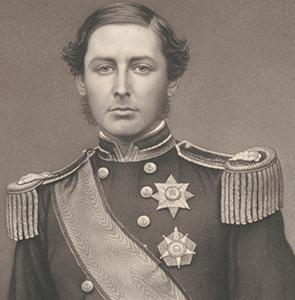 studio photo of youngish man wearing naval uniform