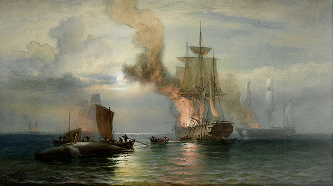 Oil painting showing four whaling ships with fire and smoke emerging from their bows, where the blubber is being boiled. In the foreground, three boats are coming alongside a dead whale. A man is standing on top of the whale.