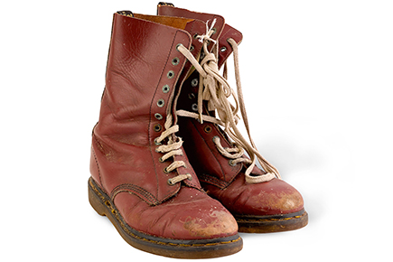 Maroon leather Doc Marten boots