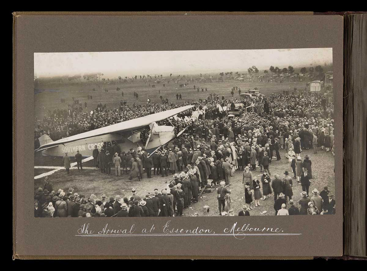 'Southern Cross' with welcoming crowds at Essendon. - click to view larger image
