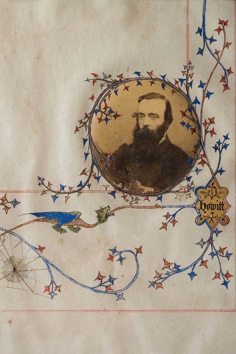 Detail of Ambrose Kyte illumination featuring a rondel housing a print photograph of Robert O'Hara Burke. - click to view larger image