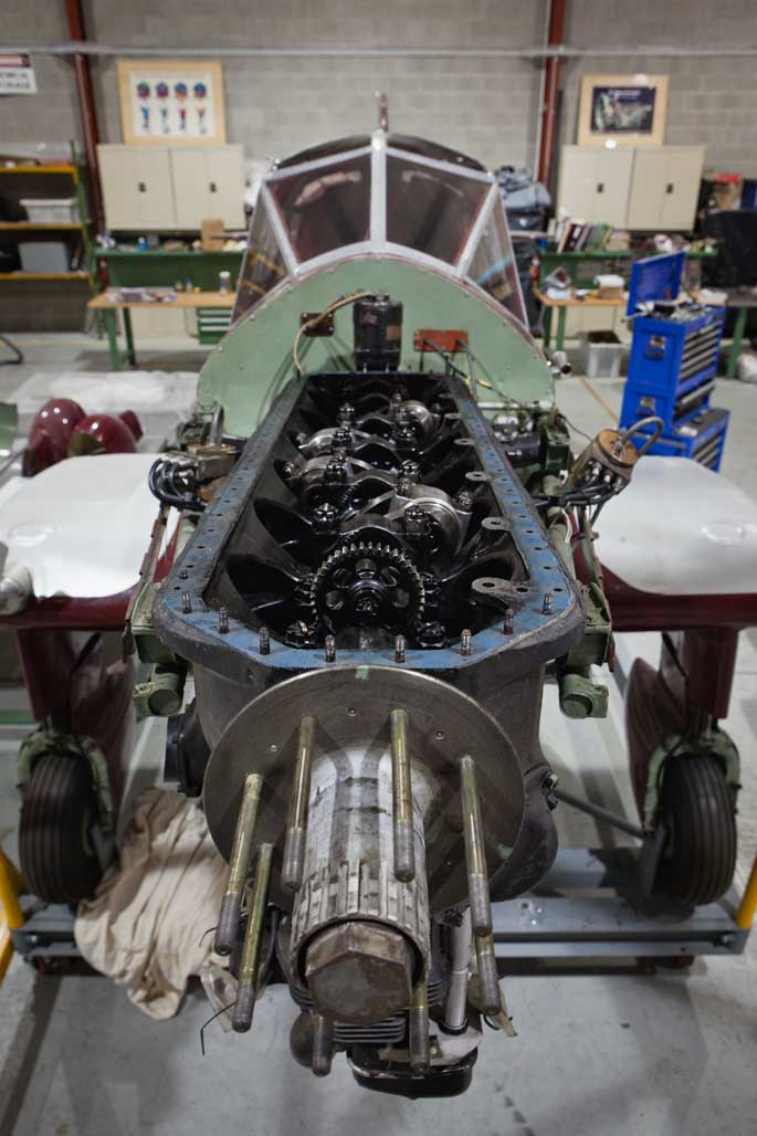 The exposed propeller shaft on the front of the Gull. - click to view larger image