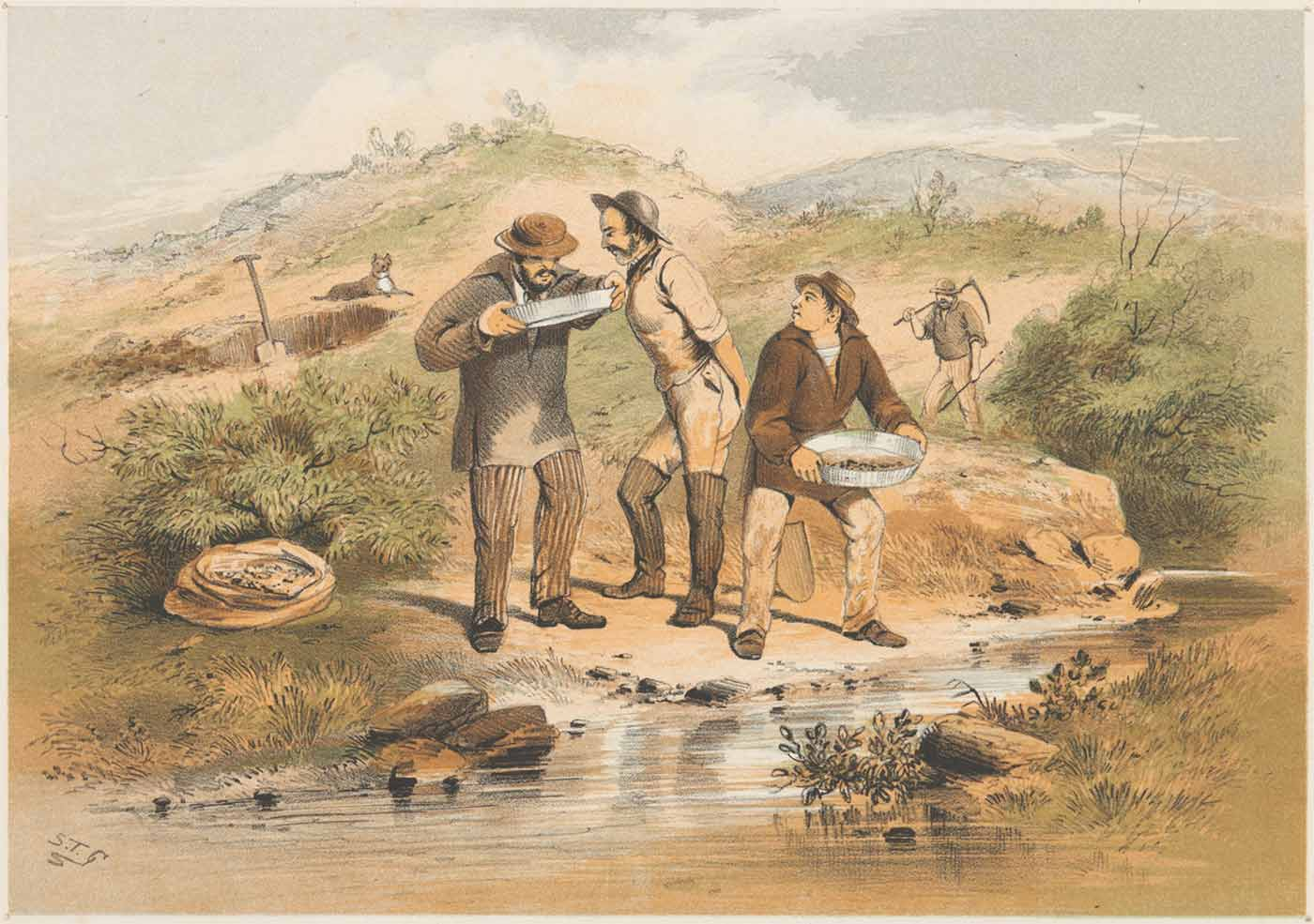 Watercolour painting of three men panning for gold by a small river. They are peering into one of the pans while another man with a scythe is seen in the distance walking in the direction of a spade resting in a hole. - click to view larger image