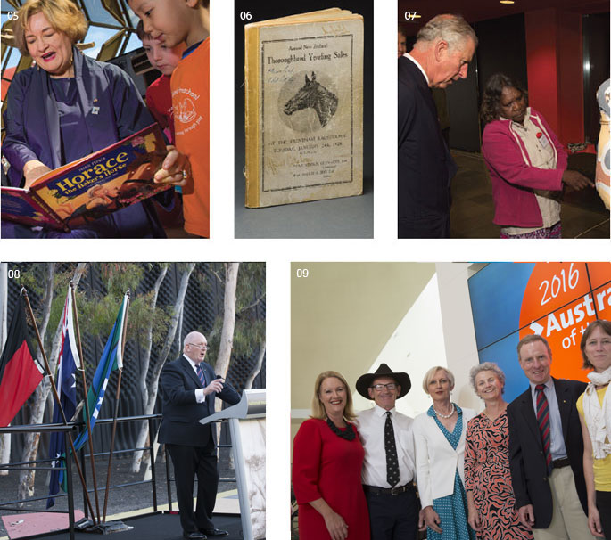 Five images (clockwise from top left): a woman reads to two boys; front cover of 'Thoroughbred Yearling Sales' book; a woman shows a man a sculptural artwork; six people stand in front of an electronic '2016 Australian of the Year' sign; a man at a lectern in front of three flags.