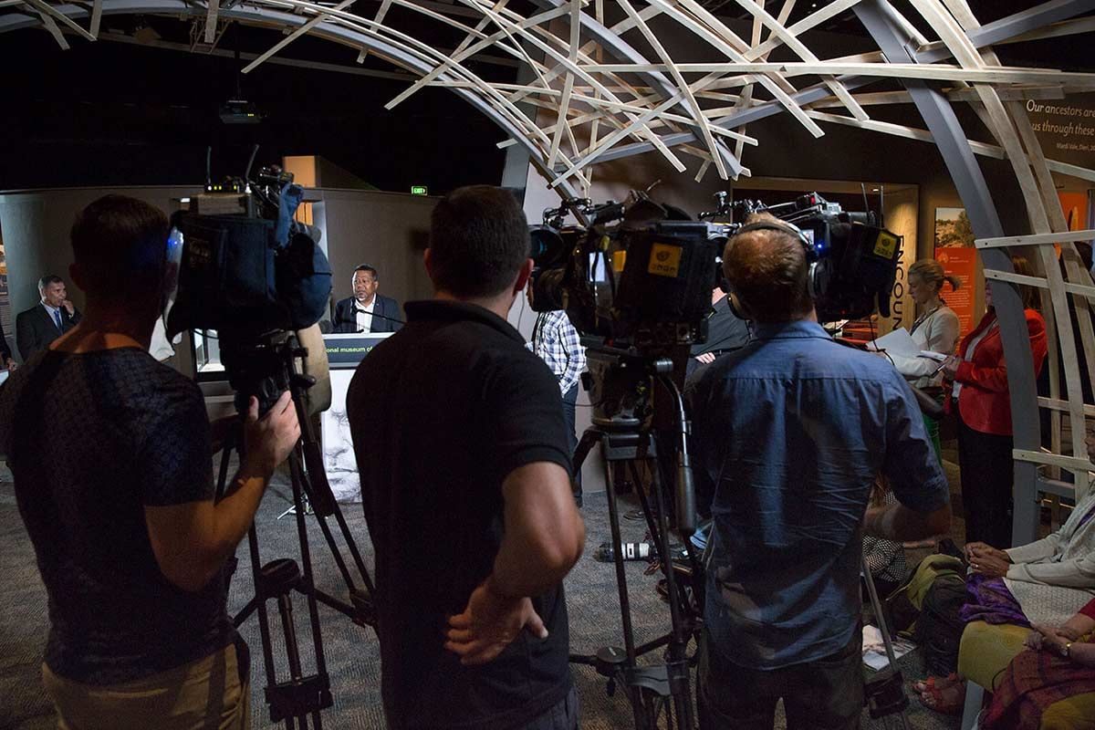 Peter Yu addressing the media. - click to view larger image