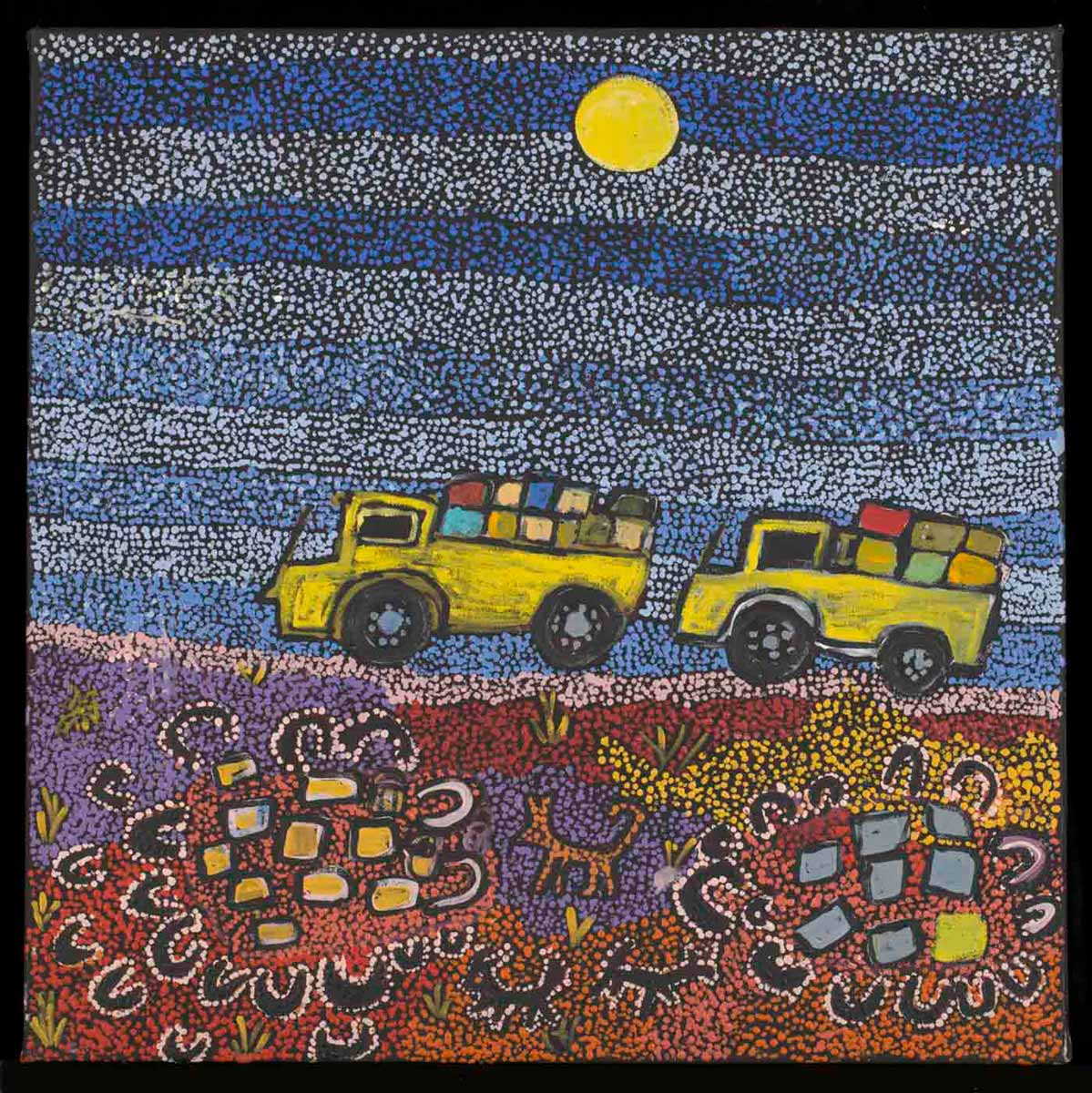 An acrylic painting on canvas showing two yellow trucks carrying big loads, against a mulitcoloured dot infill background. - click to view larger image