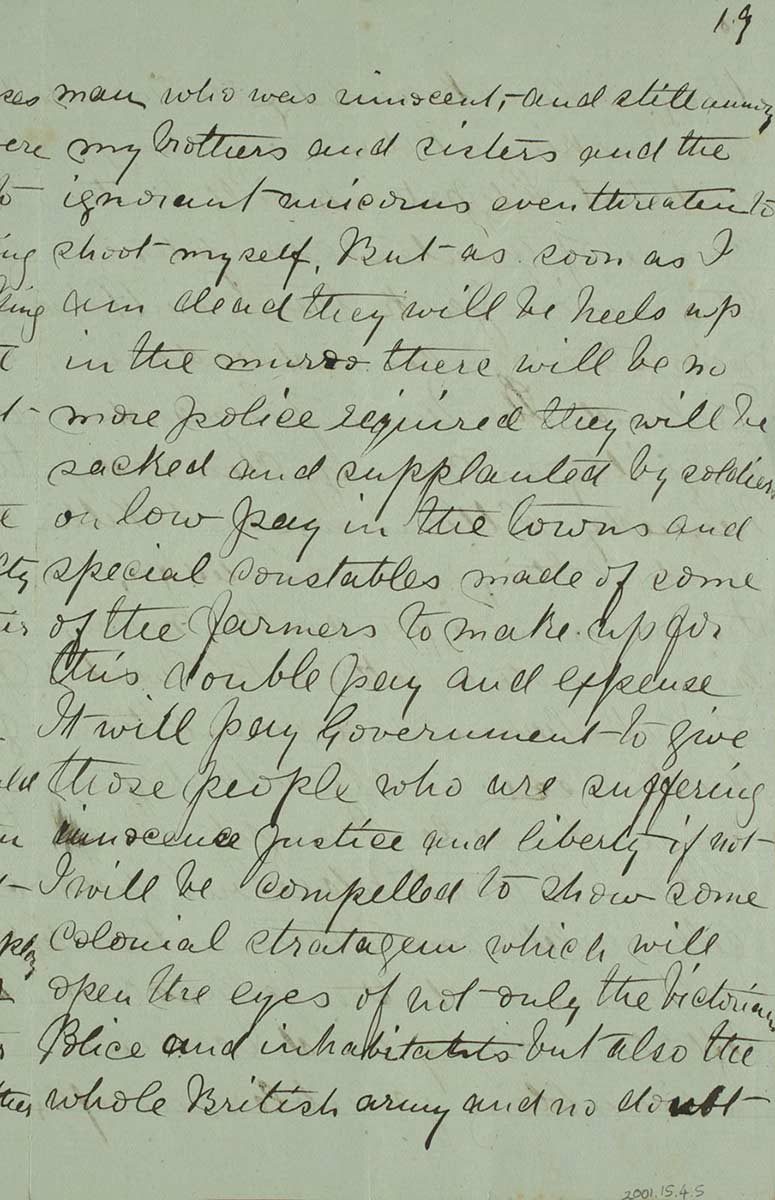 Page nineteen of Ned Kelly's Jerilderie letter. - click to view larger image