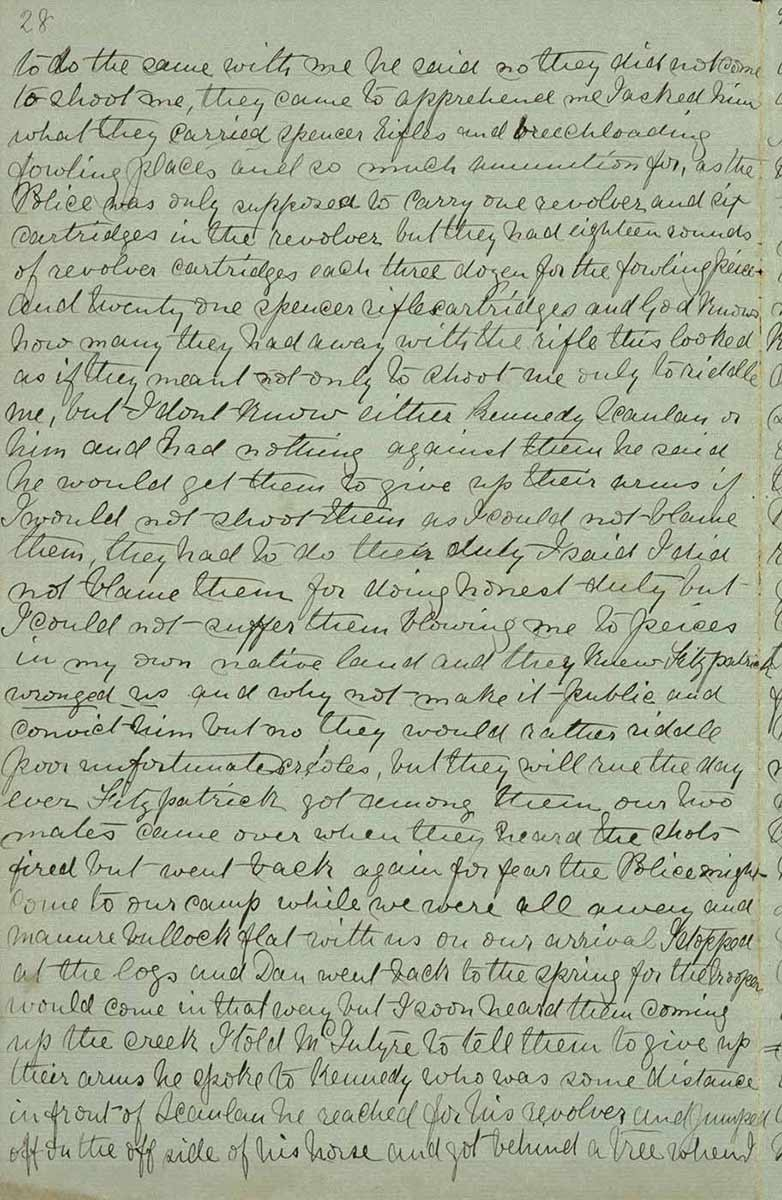 Page twenty eight of Ned Kelly's Jerilderie letter. - click to view larger image