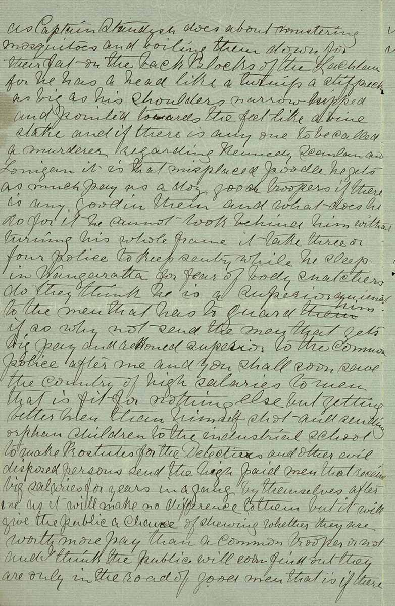 Page thirty four of Ned Kelly's Jerilderie letter. - click to view larger image