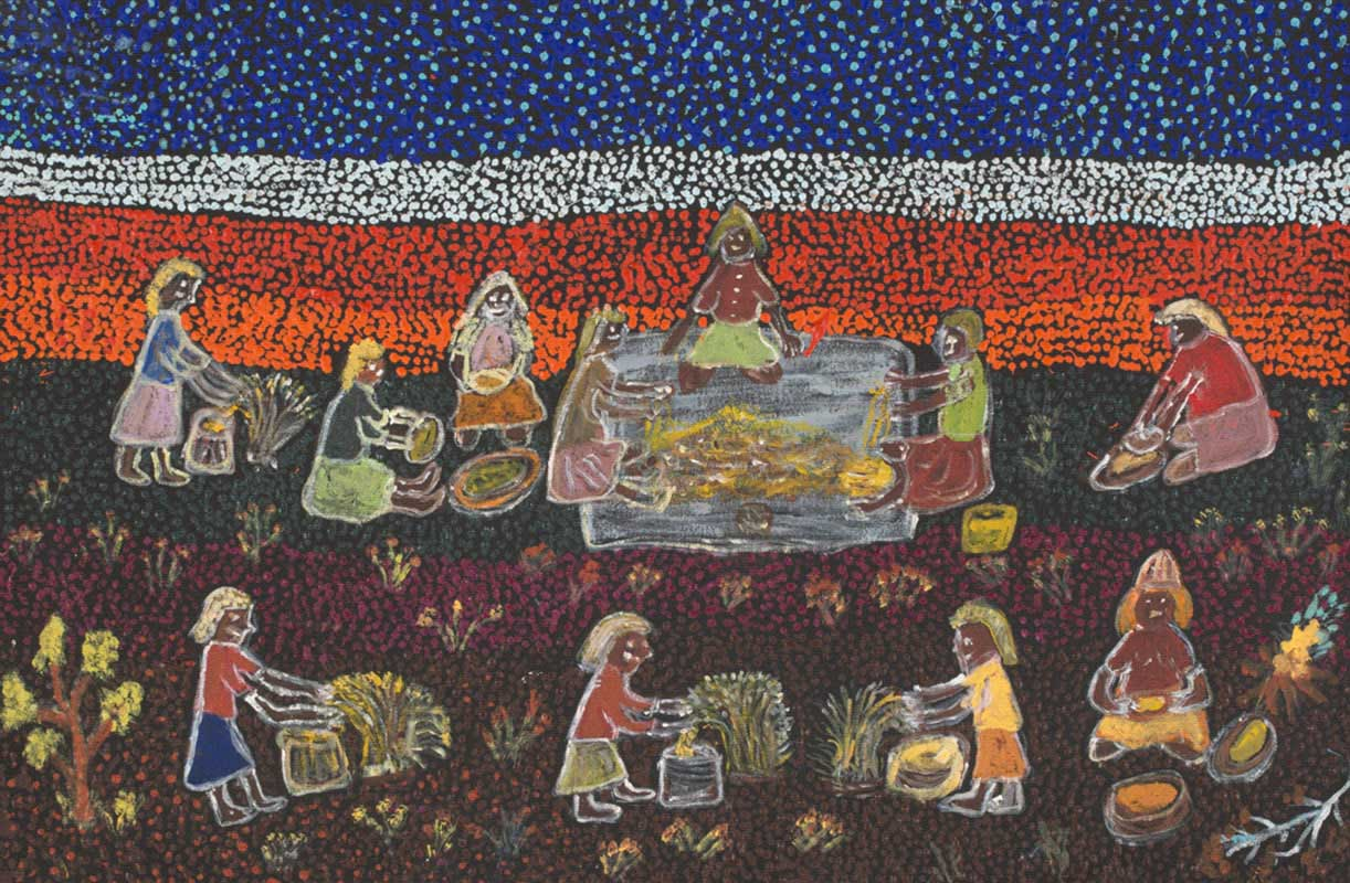 A painting with a band of purple and white dots for the sky , below which there are further bands of white, orange and yellow dots. In the foreground there are a number of female figures; some pick seed from plants and put it into bags, others grind the seed between stones, while a further three figures are sitting on a rug.   - click to view larger image