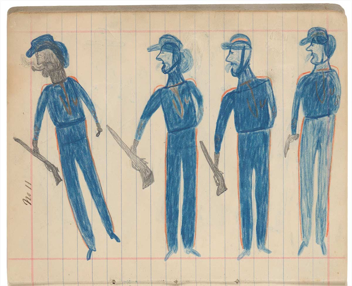 Sketchbook drawings of four blue figures wearing hats and carrying guns or rifles - click to view larger image