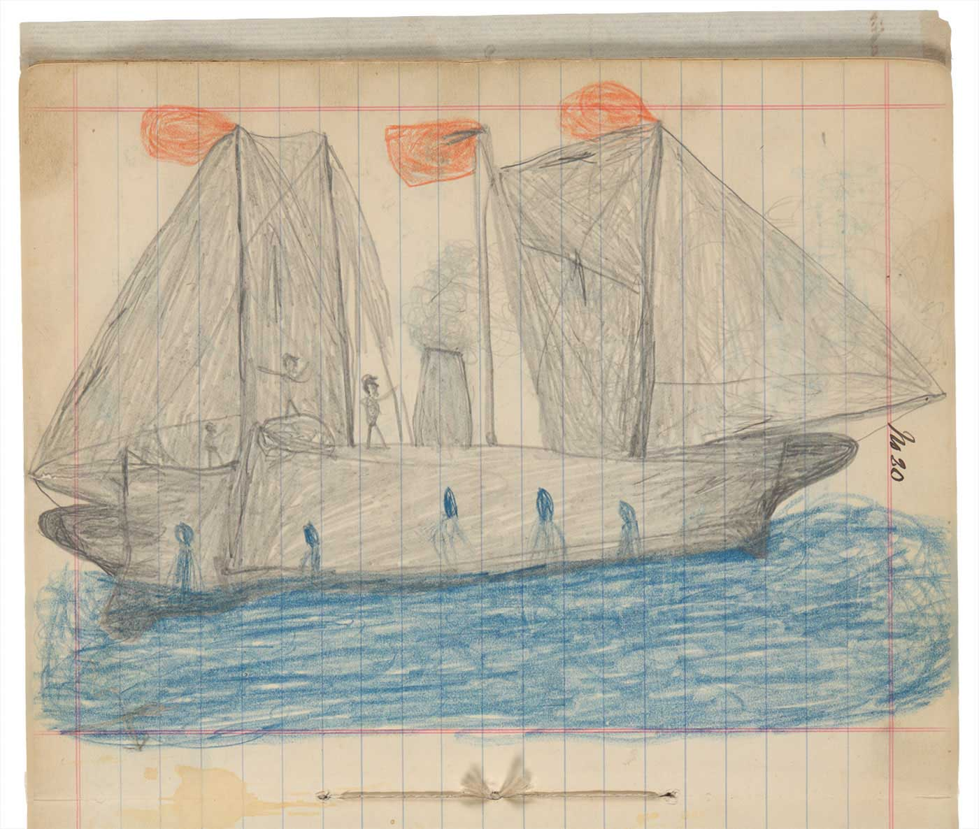 Sketchbook drawing of a grey boat with three orange flags on blue water - click to view larger image
