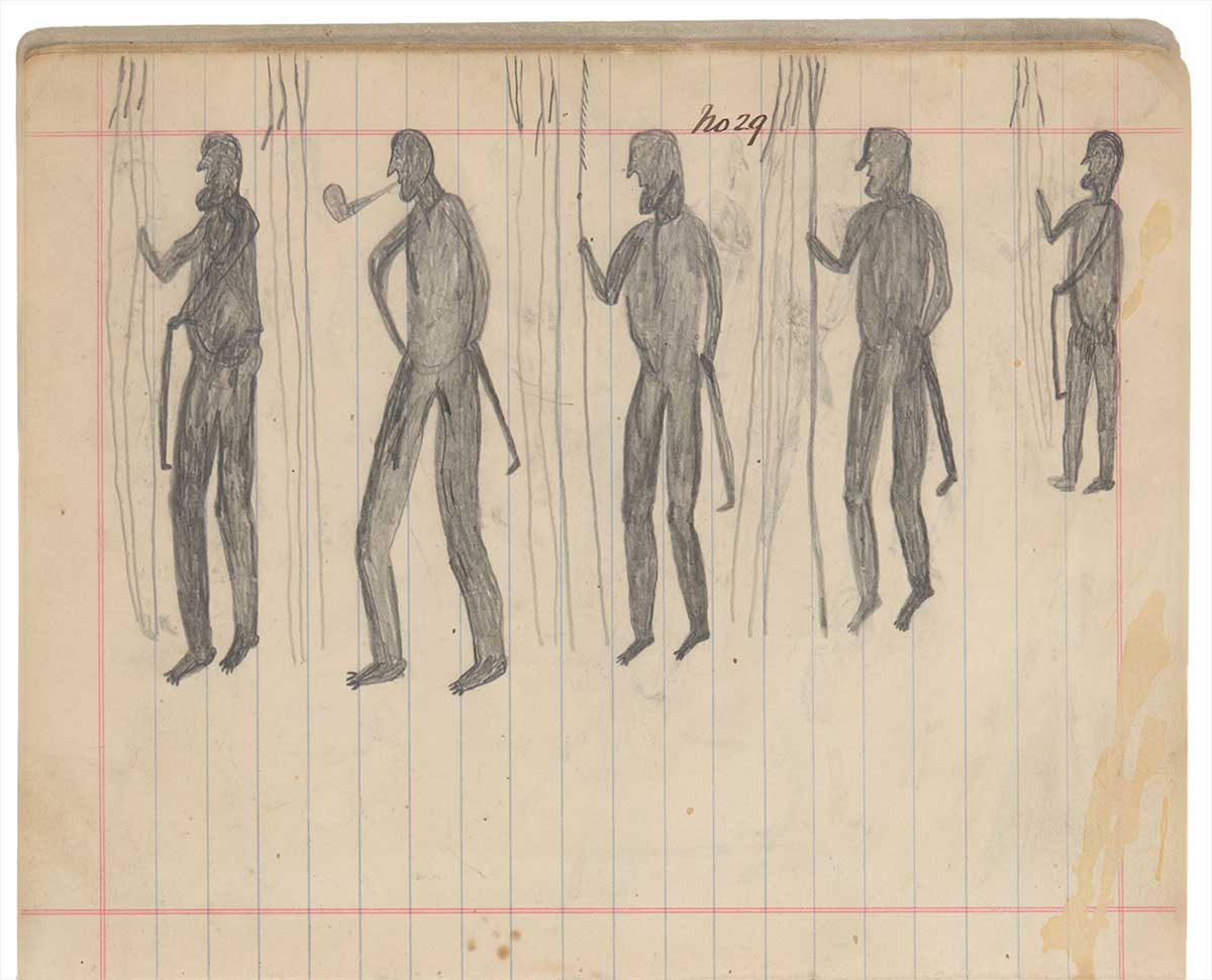 Sketchbook drawing of five figures  - click to view larger image